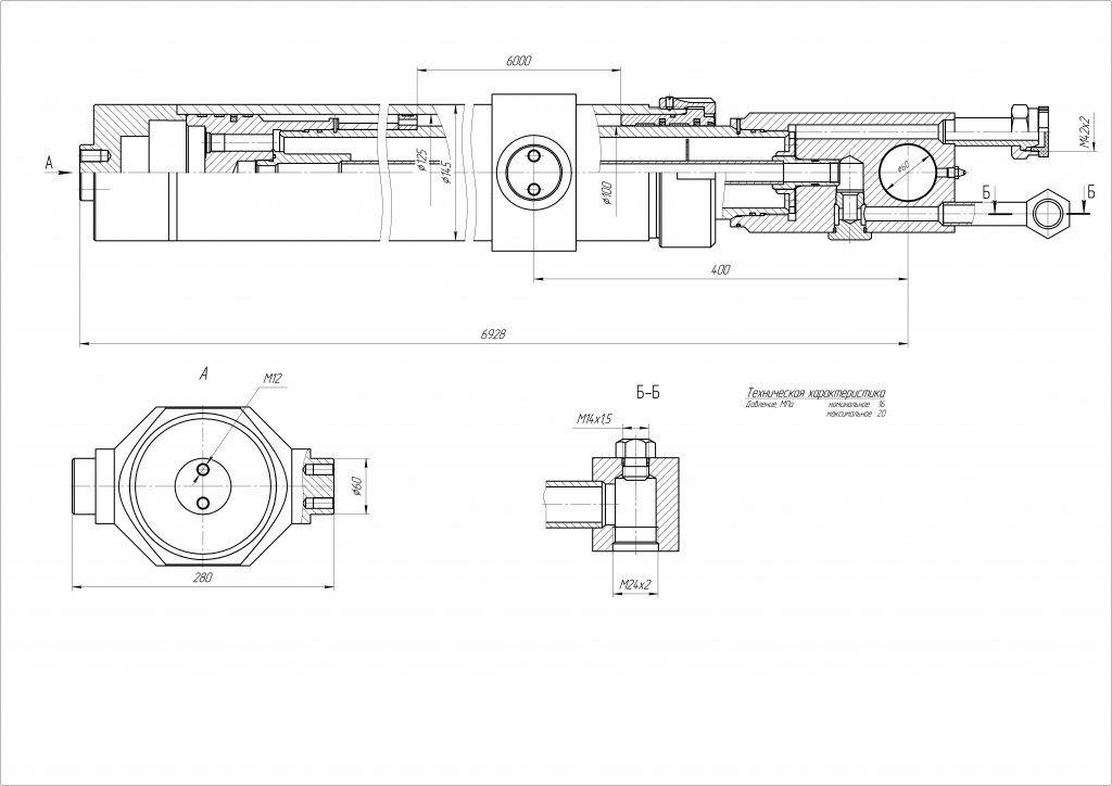 Гидроцилиндр ЦГ-125.100х6000.31
